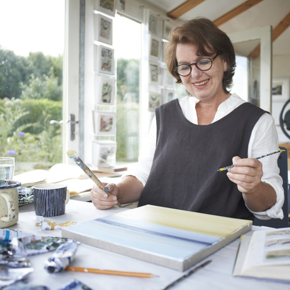 Angela Harding working in her studio